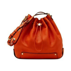 Vince Camuto sunset orange bucket bag